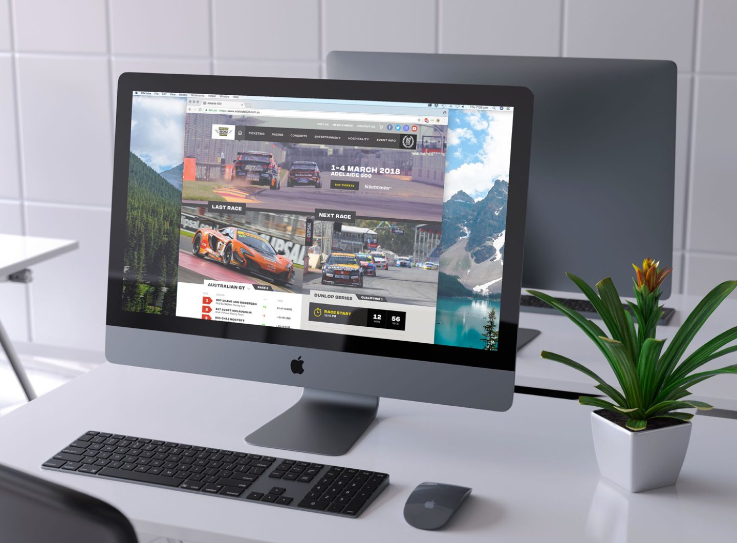 The Adelaide 500 website design displayed on an iMac