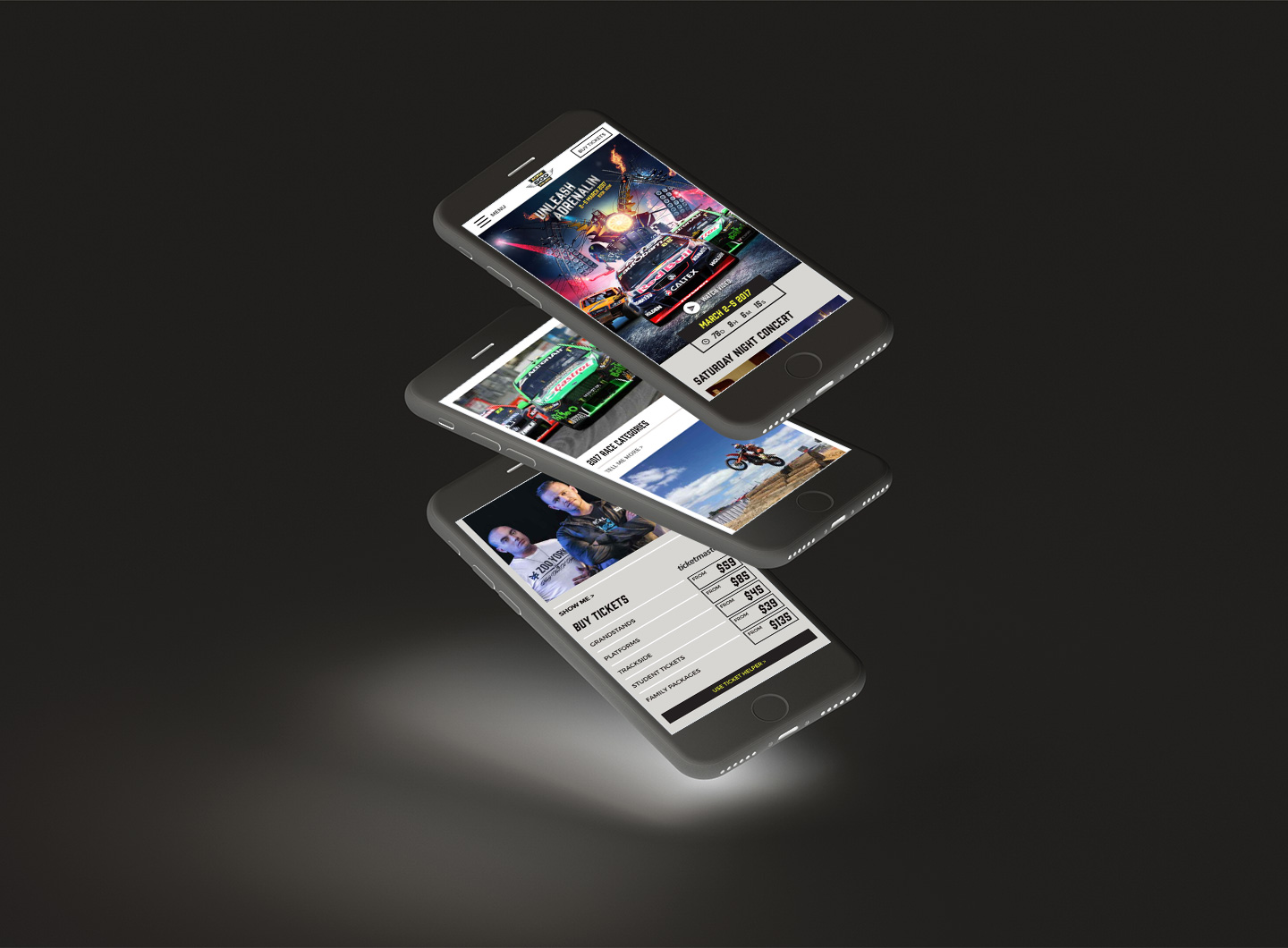 A stack of iPhones showing the Adelaide 500 website design