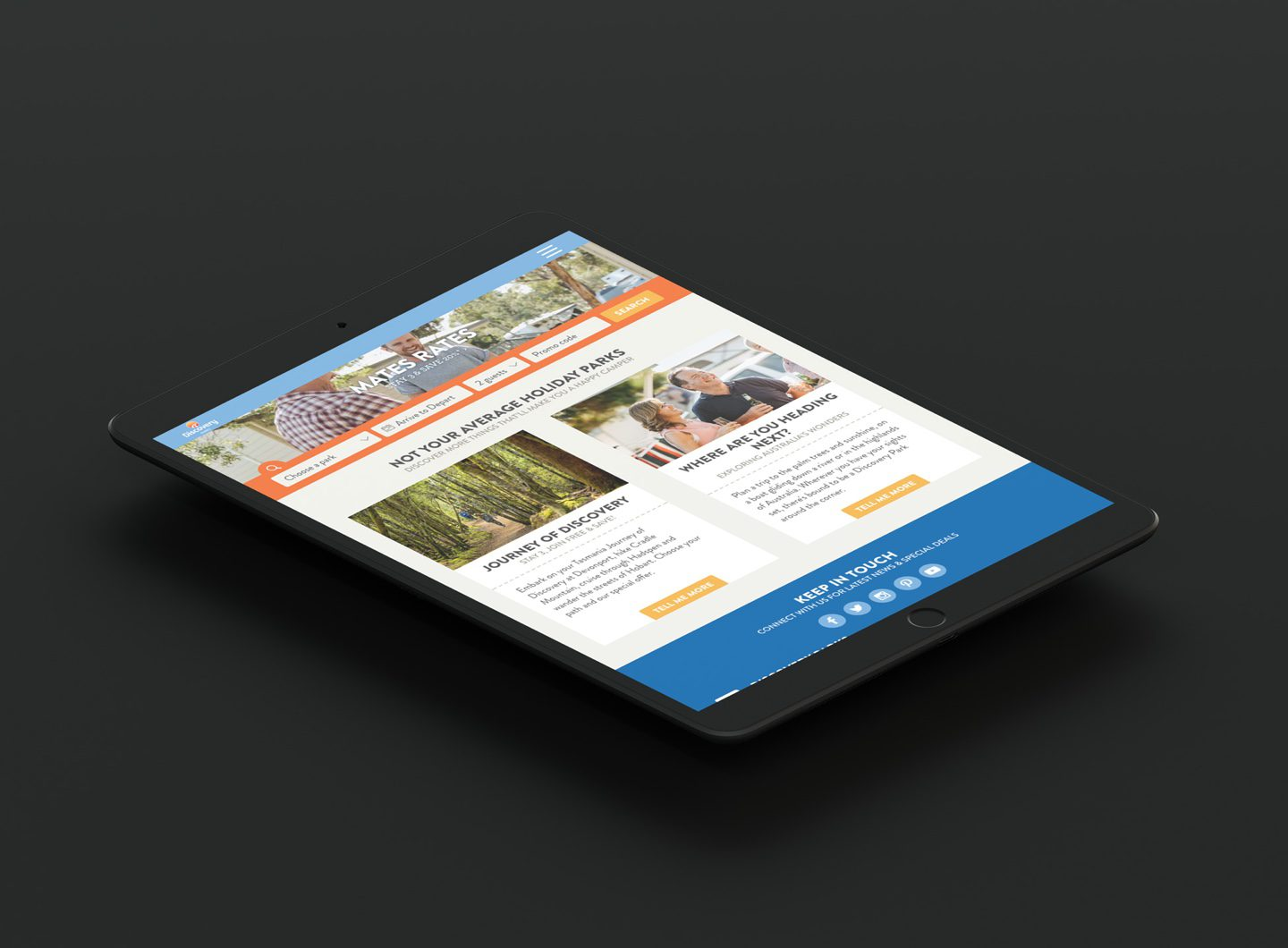 An iPad showing the Discovery Parks tablet size website