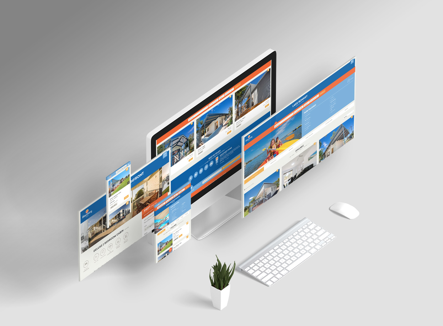 A responsive website design spread for Discovery Parks showing different devices
