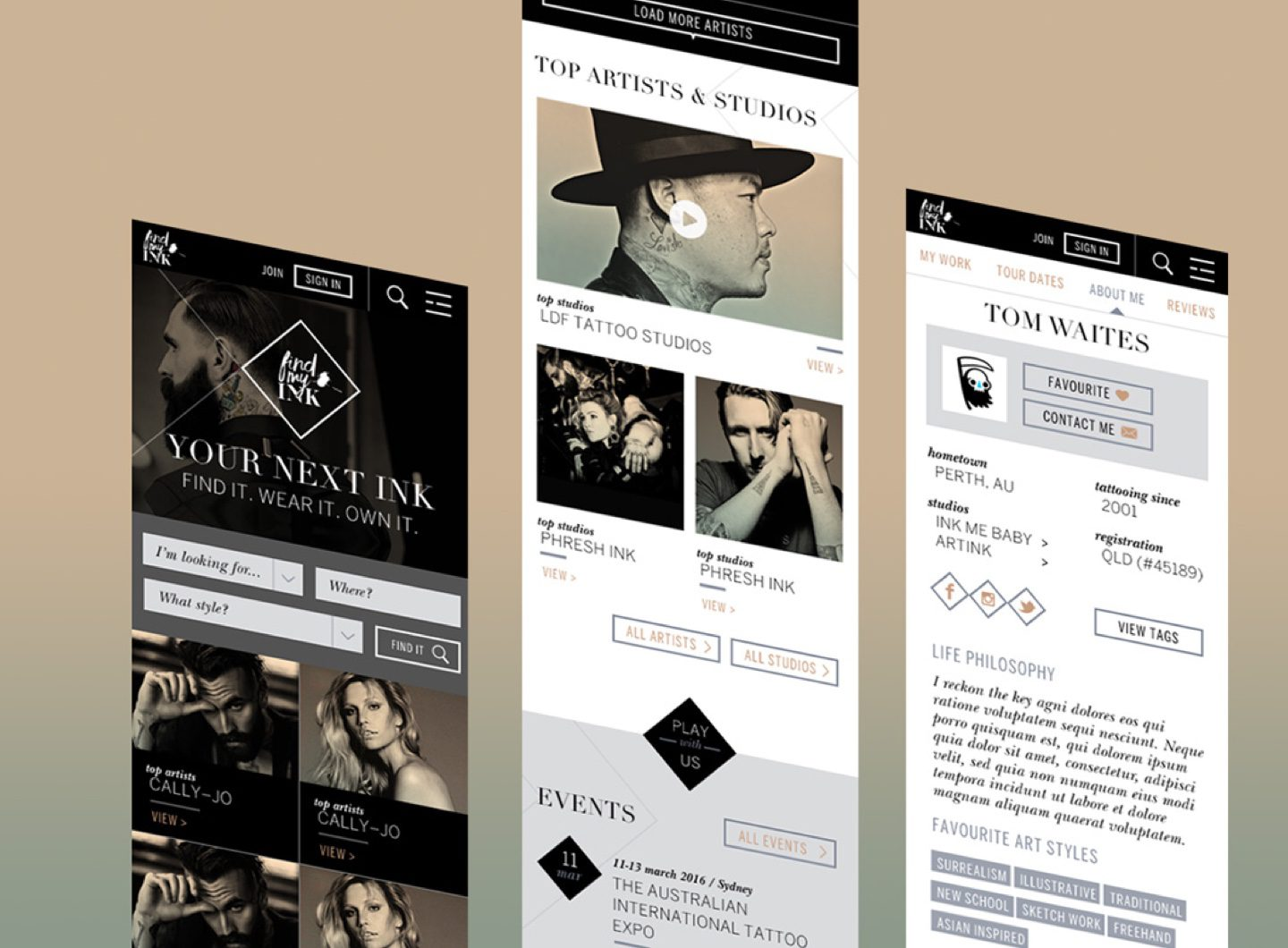 Strips of the responsive FindMyInk website design