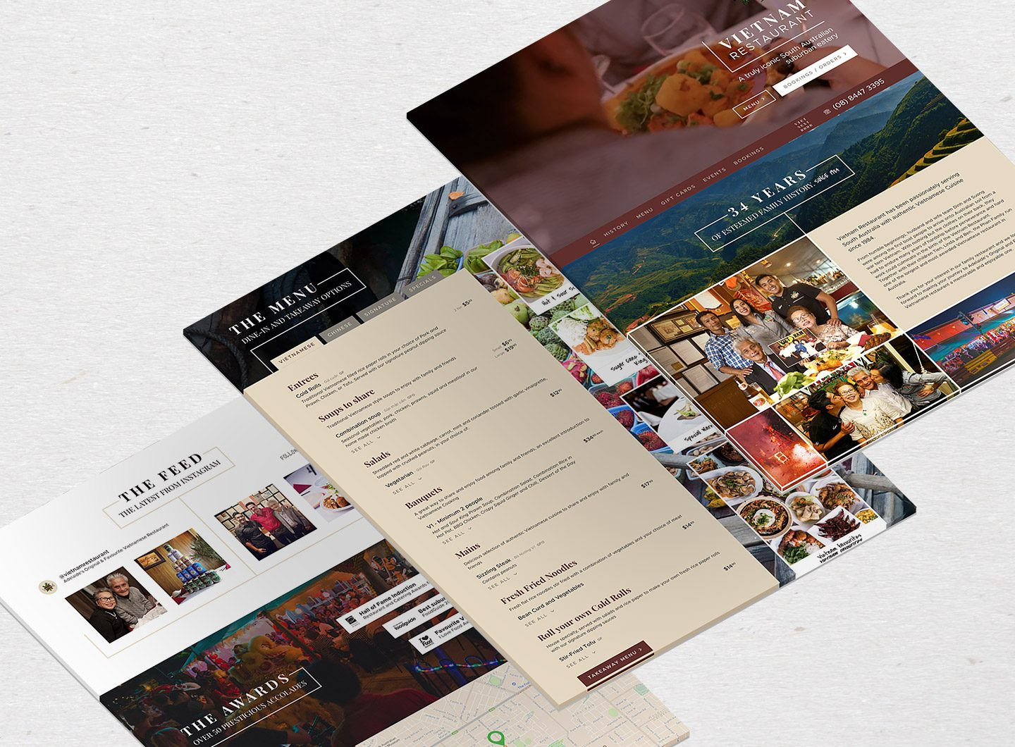 A stack of website designs showing the Vietnam Restaurant website