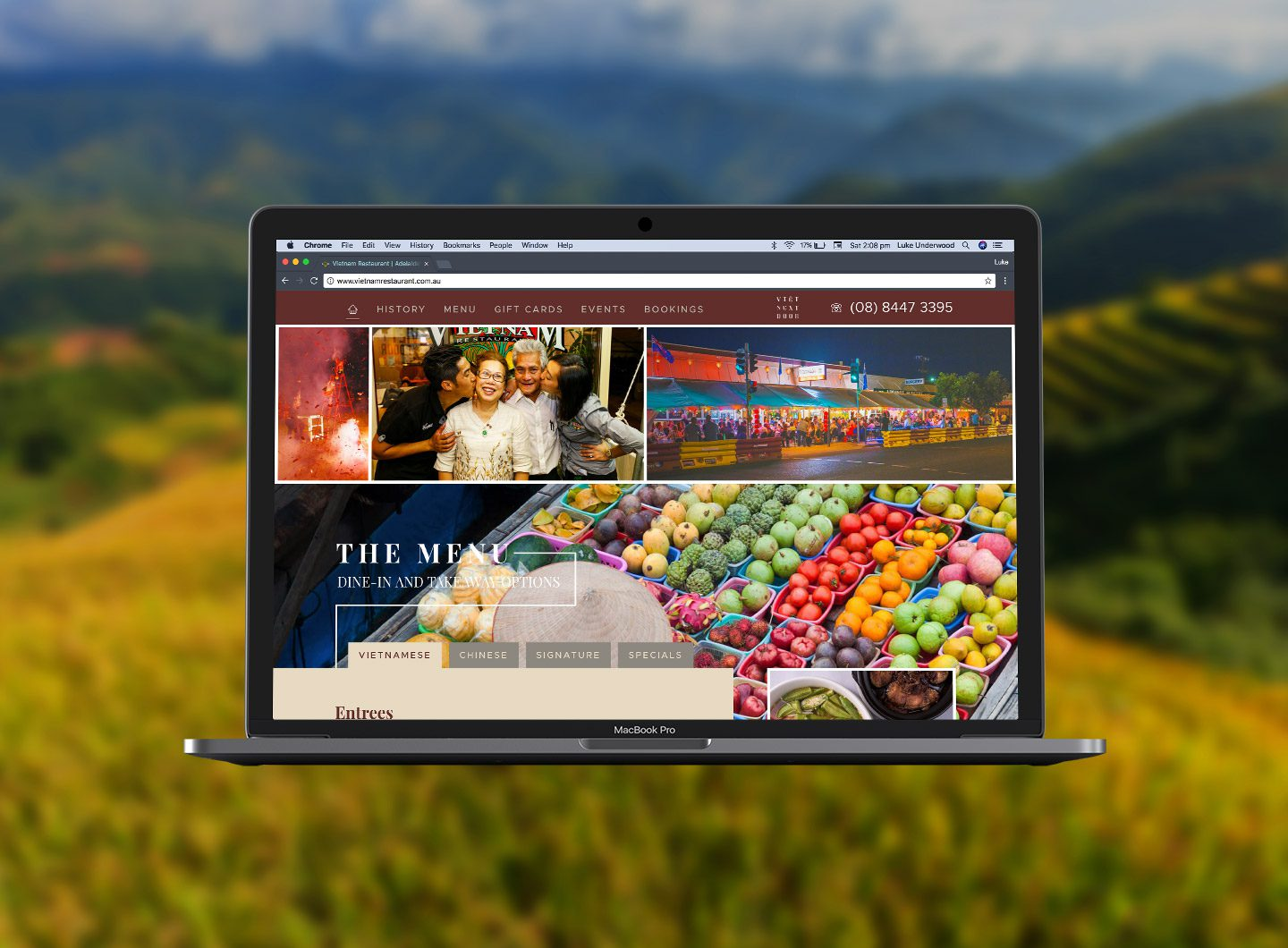 A screen showing the website design for Vietnam Restaurant